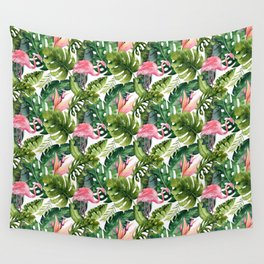 Summer tropical leaf watercolor pink flamingo greenery  Wall Tapestry