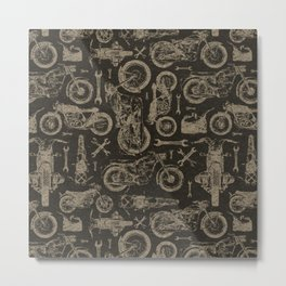 Dark Vintage Motorcycle Pattern Metal Print