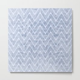 Pale Foamy Blue Chevron Faux Toweling Metal Print