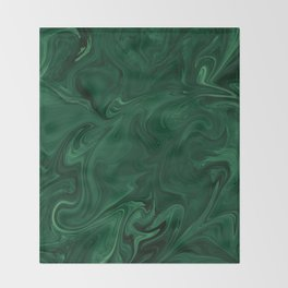 Modern Cotemporary Emerald Green Abstract Throw Blanket