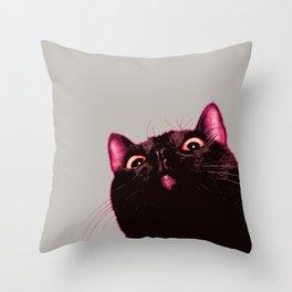 Curious cat, Black cat, Pop Art cat. Throw Pillow