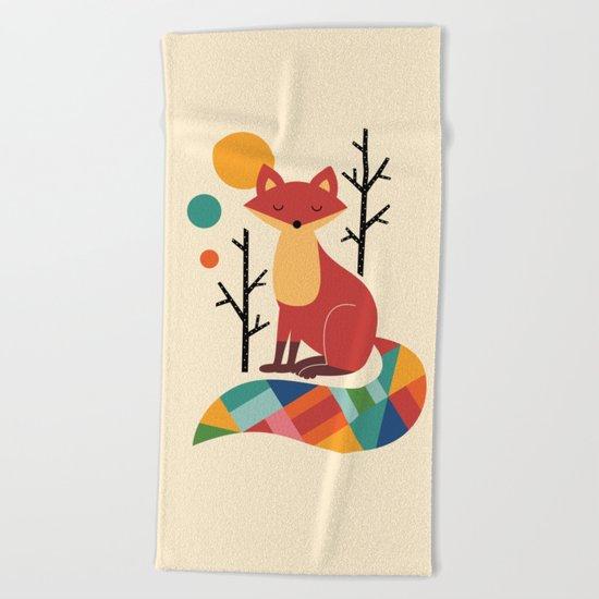 Rainbow Fox Beach Towel