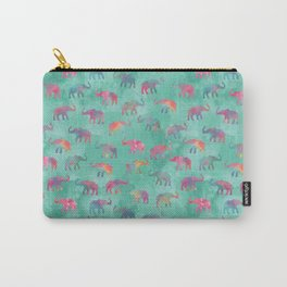 Elephants on Parade Watercolor Green Carry-All Pouch