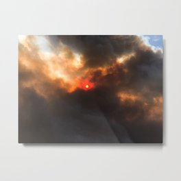 Wildfire | Nature Smoky Sky Blue Red Sun Weather Art Print Tapestry Metal Print