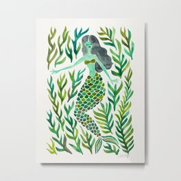 Kelp Forest Mermaid – Green Palette Metal Print