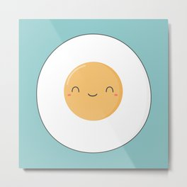 Kawaii Cute Fried Eggs Breakfast Metal Print