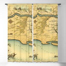 Chicago Map Vintage 1883 Blackout Curtain
