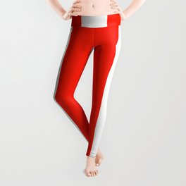 Fiesta Red and White Wide Vertical Cabana Tent Stripe Leggings