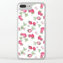 Watercolor . Strawberry on a White background . Clear iPhone Case