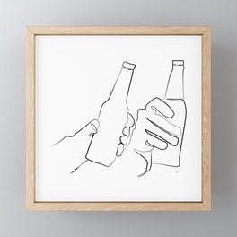 """ Kitchen Collection "" - Two Hands Holding Beer Bottles Framed Mini Art Print"