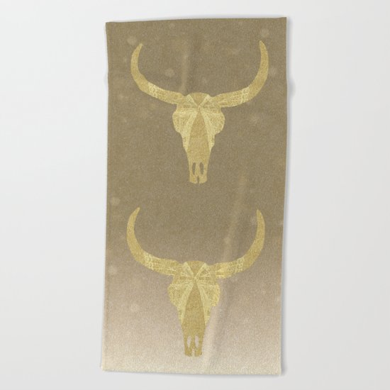 Gold Glitter Cow Skull Beach Towel