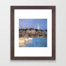 Newport Harbor, Newport, Rhode Island - Cat Boats by Frederick Childe Hassam Framed Art Print