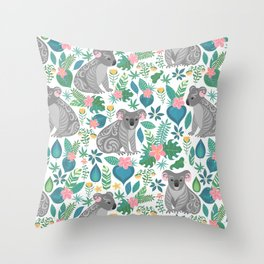 Floral Koala Throw Pillow