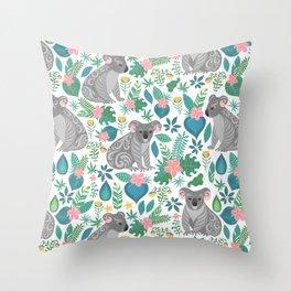 Floral Koala Throw Pillow