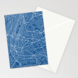 New York City Map of the USA - Blueprint Stationery Cards