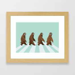 Sloth The Abbey Road in Green Framed Art Print