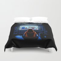 8bit Duvet Covers featuring 8bit Who by Bamboota