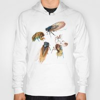 floral Hoodies featuring summer cicadas by Teagan White