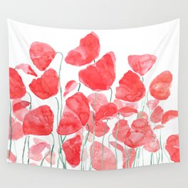 abstract red poppy field watercolor Wall Tapestry