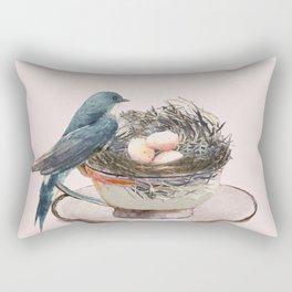 Bird nest in a teacup Rectangular Pillow