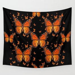 ORANGE MONARCH BUTTERFLIES BLACK MONTAGE Wall Tapestry