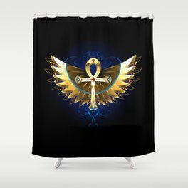 Gold Ankh with Wings Shower Curtain