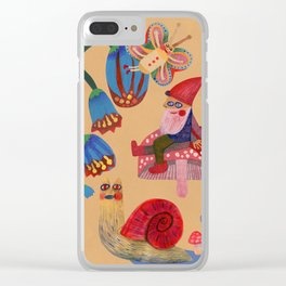 Gnome, snails and butterfies Clear iPhone Case