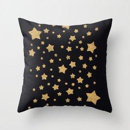 Gold Stars on BLack Throw Pillow