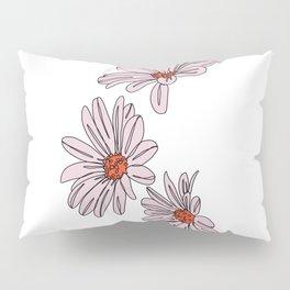 Daisy botanical line illustration - Bud Pillow Sham