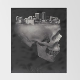 Urban Skull Horror Black and White City Throw Blanket