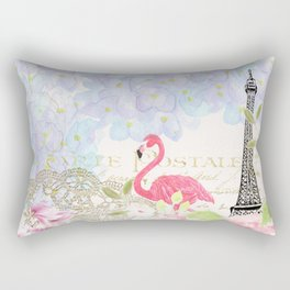 Elegant vintage french Eiffel Tower watercolor flamingo floral Rectangular Pillow