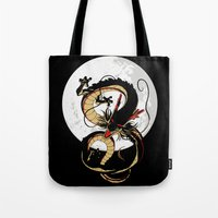 dragon ball Tote Bags featuring Black Dragon by TxzDesign