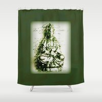 budi satria kwan Shower Curtains featuring Antique Green Kwan Yin by Jan4insight