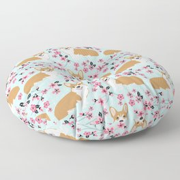 Corgi cherry blossom florals dog must have cute welsh corgis gifts pure breed Floor Pillow