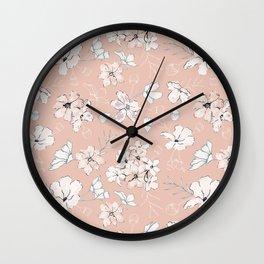 Loose pastel florals Wall Clock