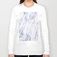 white marble Long Sleeve T-shirts featuring White Marble by Ricardo Lopez