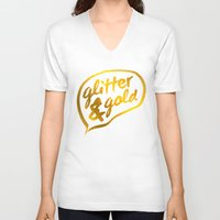 gold glitter V-neck T-shirts featuring Glitter and Gold by Berberism