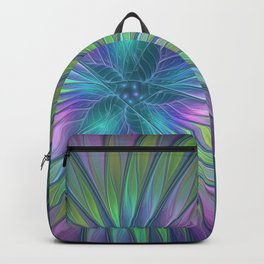 Colorful and luminous Fantasy Flower, Abstract Fractal Art Backpack