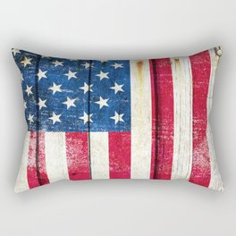 Vintage American Flag On Old Barn Wood Rectangular Pillow
