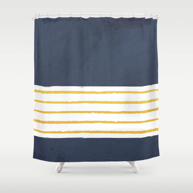 Navy Stripes Shower Curtain
