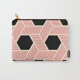 Pink Deco Hexagons Carry-All Pouch