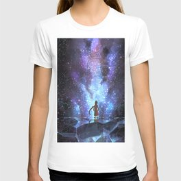 Astral Travelling Girl Enjoying Starscape Cartoon Scenery Ultra High Resolution T-shirt