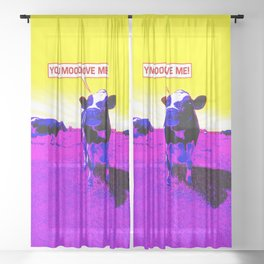 Psychedelic Cows Sheer Curtain