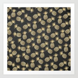 Modern chalk black elegant faux gold pineapple pattern Art Print