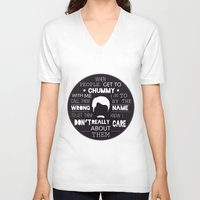ron swanson V-neck T-shirts featuring RON SWANSON by Edna Andrade