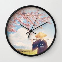 The warrior under the sakura tree Wall Clock