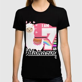 Kids 7 Years Old 7th Llama Birthday Gift T-shirt