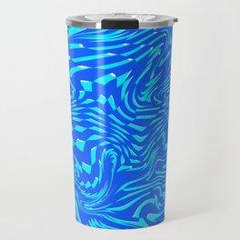 Pattern Blue Mint Abstract Art Chaos Lines Digitalart Gift Travel Mug