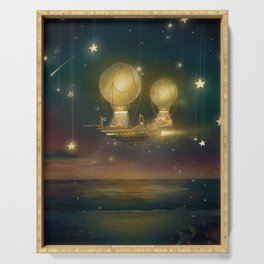Starry night magic flying ship over the ocean at sunset Serving Tray
