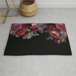 Vintage & Shabby Chic - Night Antique Redoute Roses Frame On Black Rug